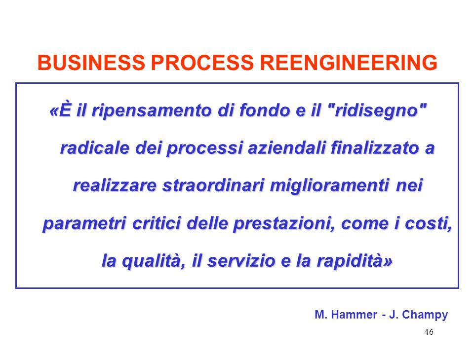 46 BUSINESS PROCESS REENGINEERING «È il ripensamento di fondo e il