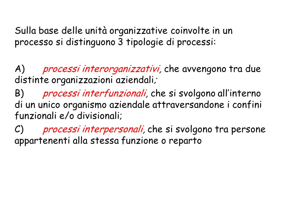 Sulla base delle unità organizzative coinvolte in un processo si distinguono 3 tipologie di processi: A)processi interorganizzativi, che avvengono tra