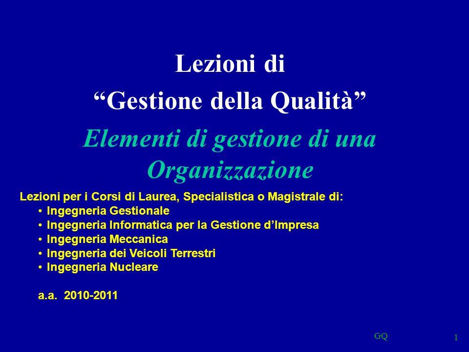 GQ 1 Lezioni di Gestione della Qualità Elementi di gestione di una Organizzazione Lezioni per i Corsi di Laurea, Specialistica o Magistrale di: Ingegn