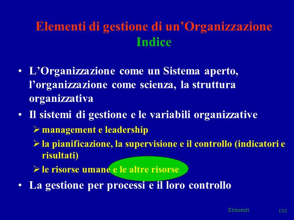 Elementi 101 Elementi di gestione di unOrganizzazione Indice LOrganizzazione come un Sistema aperto, lorganizzazione come scienza, la struttura organi