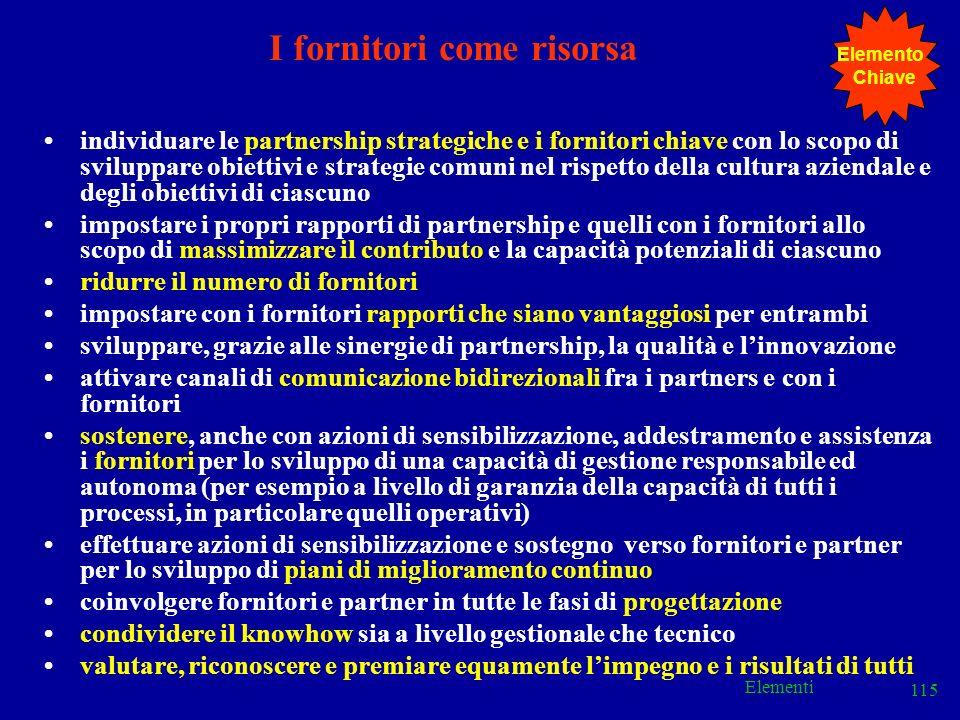 Elementi 115 I fornitori come risorsa individuare le partnership strategiche e i fornitori chiave con lo scopo di sviluppare obiettivi e strategie com