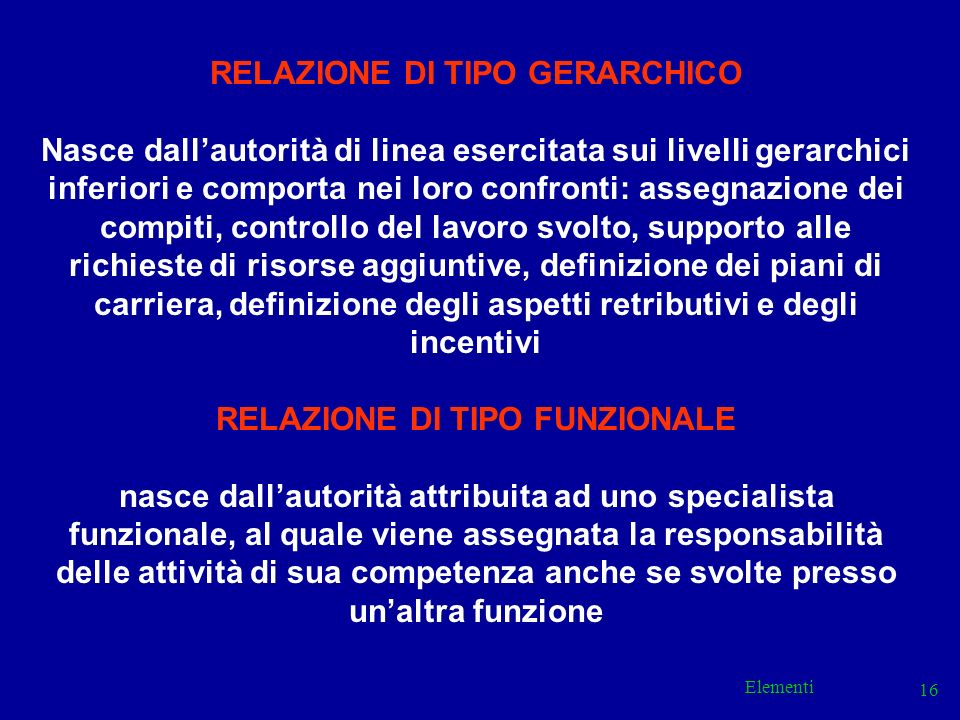 Elementi 16 RELAZIONE DI TIPO GERARCHICO Nasce dallautorità di linea esercitata sui livelli gerarchici inferiori e comporta nei loro confronti: assegn