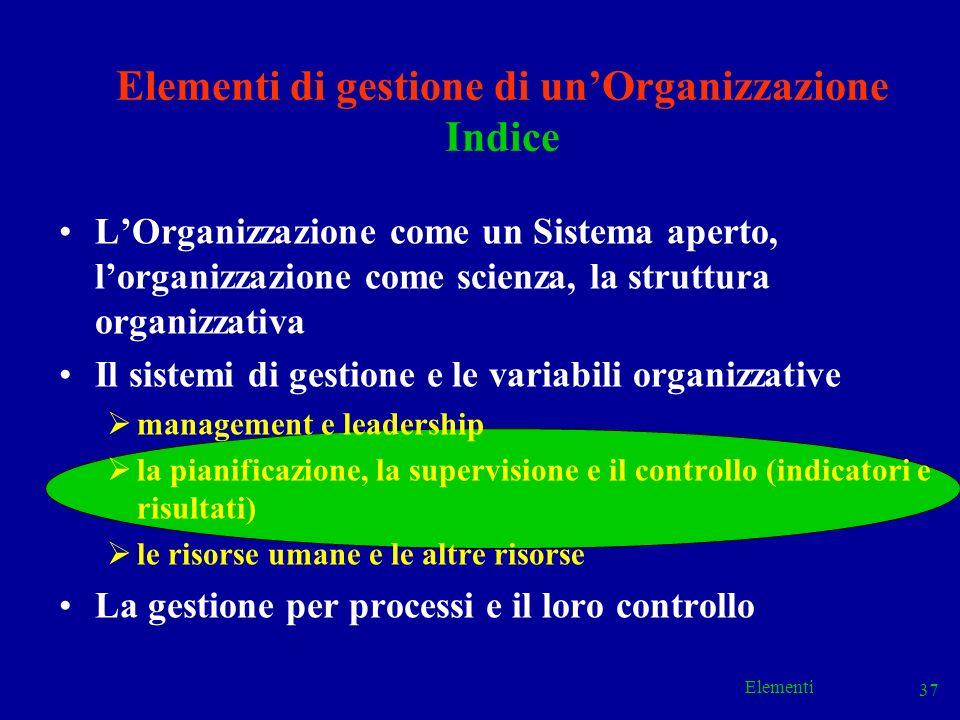 Elementi 37 Elementi di gestione di unOrganizzazione Indice LOrganizzazione come un Sistema aperto, lorganizzazione come scienza, la struttura organiz
