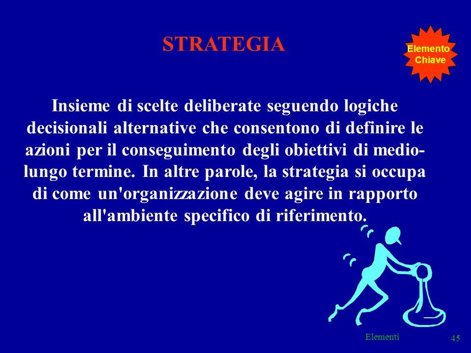 Elementi 45 Insieme di scelte deliberate seguendo logiche decisionali alternative che consentono di definire le azioni per il conseguimento degli obie