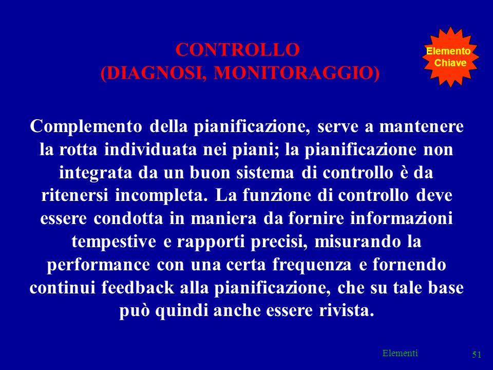 Elementi 51 CONTROLLO (DIAGNOSI, MONITORAGGIO) Complemento della pianificazione, serve a mantenere la rotta individuata nei piani; la pianificazione n