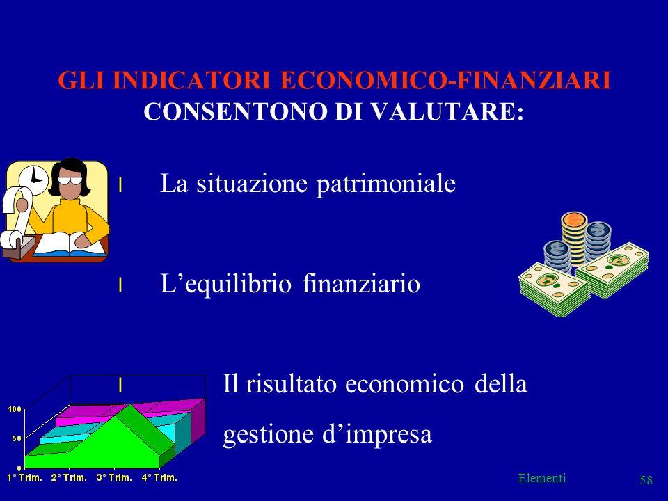 Elementi 58 GLI INDICATORI ECONOMICO-FINANZIARI CONSENTONO DI VALUTARE: l La situazione patrimoniale l Lequilibrio finanziario l Il risultato economic