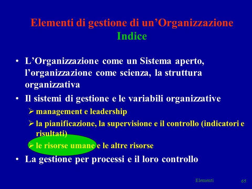 Elementi 65 Elementi di gestione di unOrganizzazione Indice LOrganizzazione come un Sistema aperto, lorganizzazione come scienza, la struttura organiz