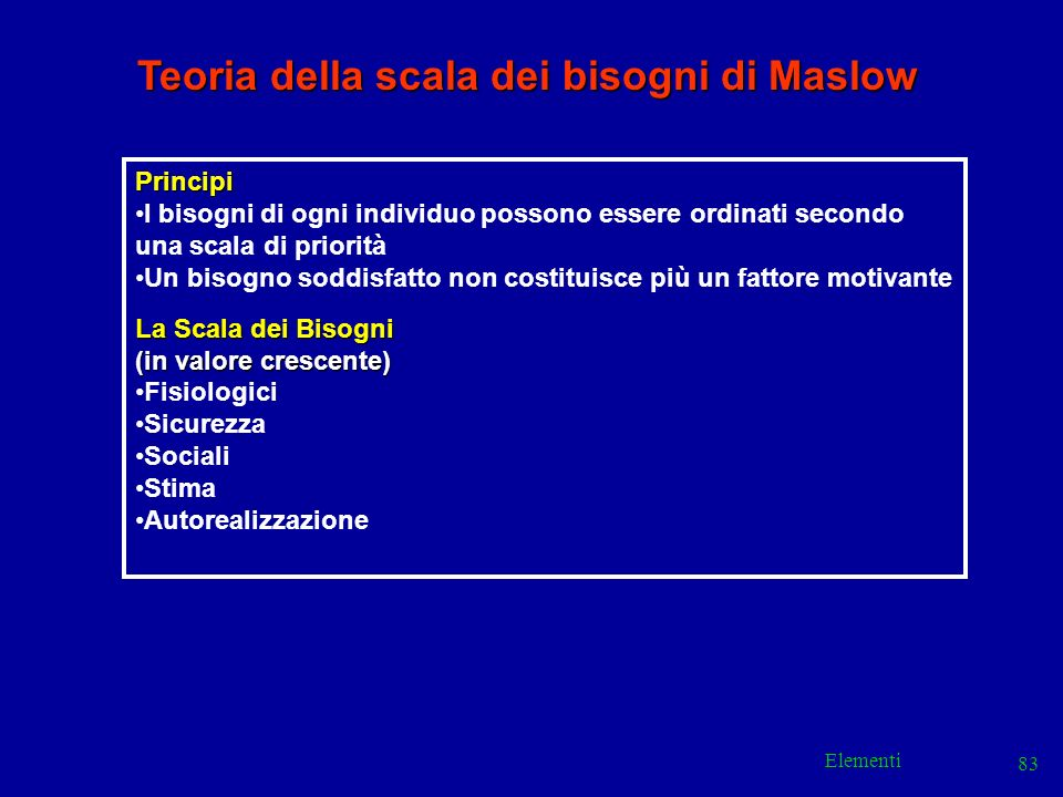 Elementi 83 Teoria della scala dei bisogni di Maslow Principi I bisogni di ogni individuo possono essere ordinati secondo una scala di priorità Un bis