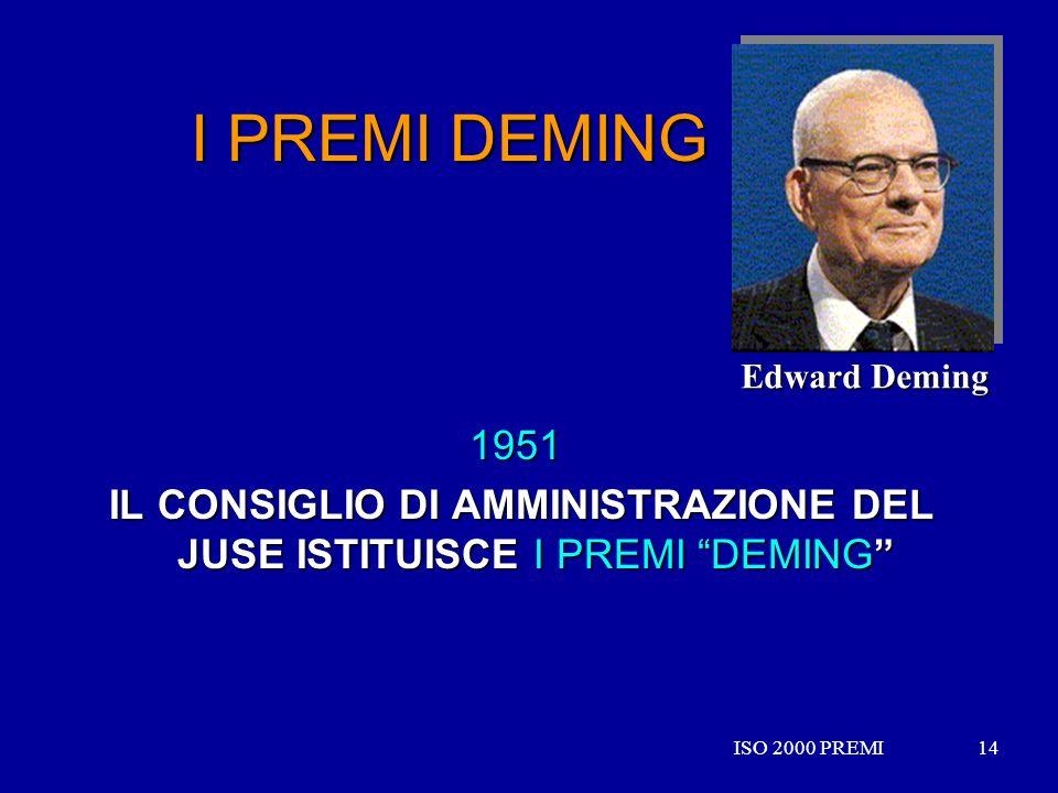 ISO 2000 PREMI14ISO 2000 PREMI14 I PREMI DEMING 1951 IL CONSIGLIO DI AMMINISTRAZIONE DEL JUSE ISTITUISCE I PREMI DEMING IL CONSIGLIO DI AMMINISTRAZION