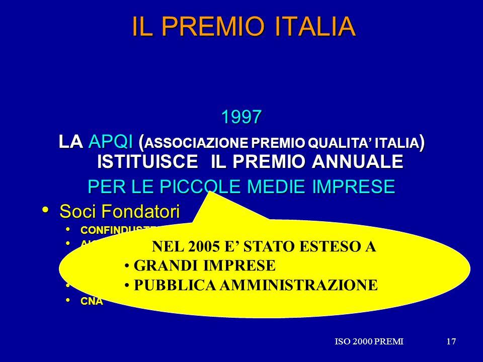 ISO 2000 PREMI17ISO 2000 PREMI17 IL PREMIO ITALIA 1997 LA APQI ( ASSOCIAZIONE PREMIO QUALITA ITALIA ) ISTITUISCE IL PREMIO ANNUALE PER LE PICCOLE MEDI