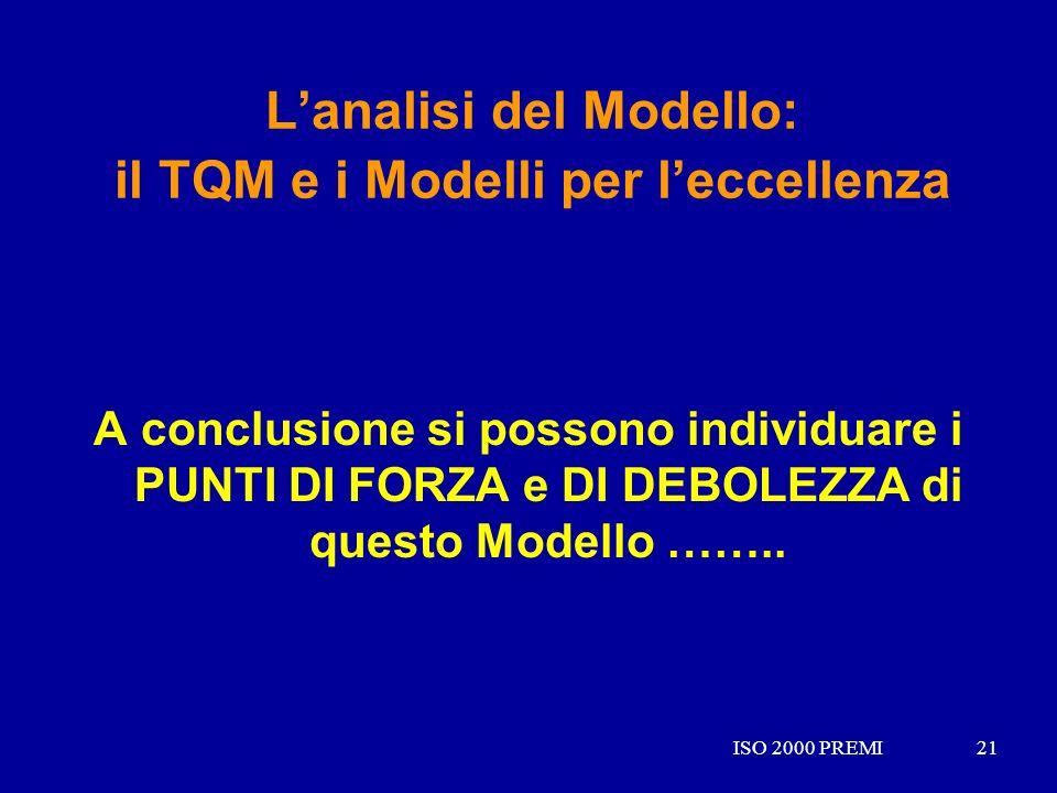 ISO 2000 PREMI21ISO 2000 PREMI21 Lanalisi del Modello: il TQM e i Modelli per leccellenza A conclusione si possono individuare i PUNTI DI FORZA e DI D