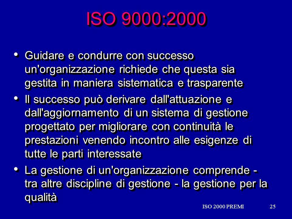 ISO 2000 PREMI25ISO 2000 PREMI25 ISO 9000:2000 Guidare e condurre con successo un'organizzazione richiede che questa sia gestita in maniera sistematic