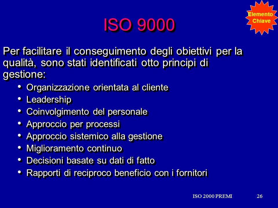 ISO 2000 PREMI26ISO 2000 PREMI26 ISO 9000 Per facilitare il conseguimento degli obiettivi per la qualità, sono stati identificati otto principi di ges