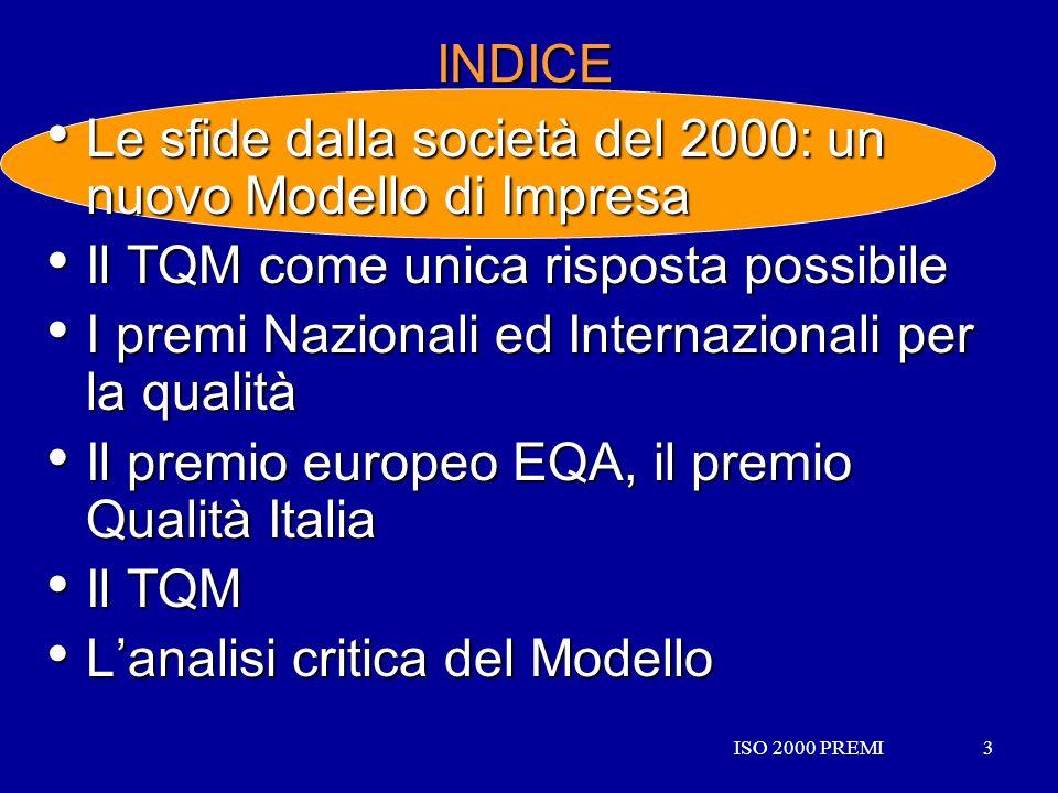 ISO 2000 PREMI3 3 INDICE Le sfide dalla società del 2000: un nuovo Modello di Impresa Le sfide dalla società del 2000: un nuovo Modello di Impresa Il