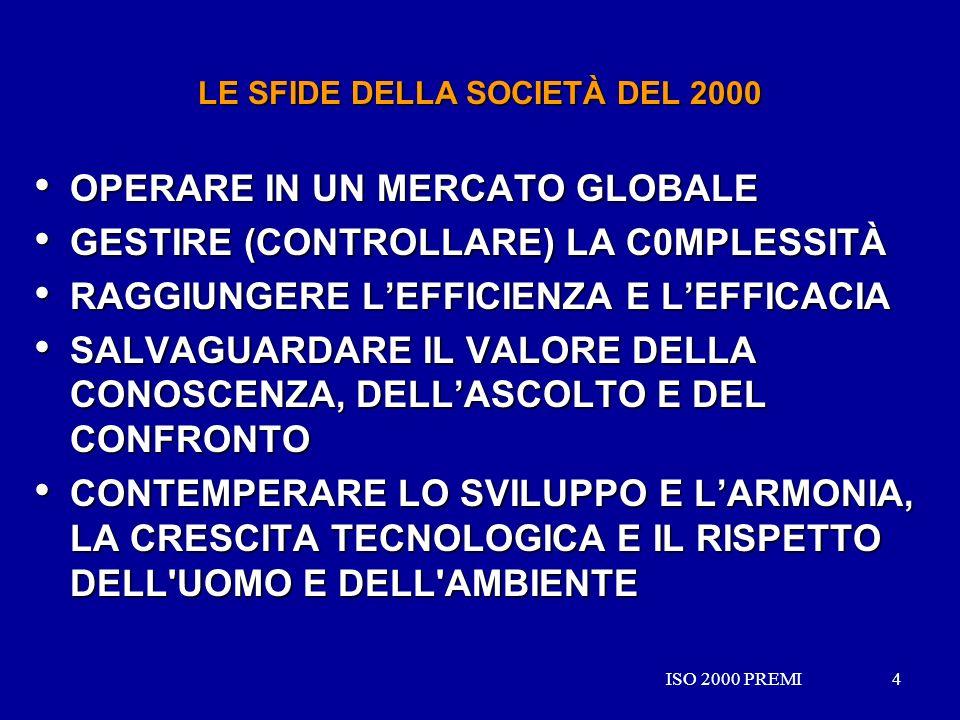 ISO 2000 PREMI4 4 LE SFIDE DELLA SOCIETÀ DEL 2000 OPERARE IN UN MERCATO GLOBALE OPERARE IN UN MERCATO GLOBALE GESTIRE (CONTROLLARE) LA C0MPLESSITÀ GES