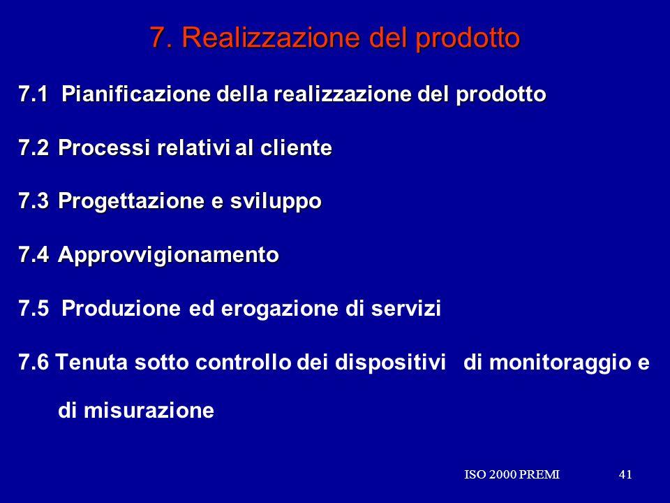 ISO 2000 PREMI41ISO 2000 PREMI41 7. Realizzazione del prodotto 7.1 Pianificazione della realizzazione del prodotto 7.2 Processi relativi al cliente 7.