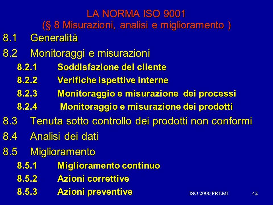 ISO 2000 PREMI42ISO 2000 PREMI42 LA NORMA ISO 9001 (§ 8 Misurazioni, analisi e miglioramento ) 8.1 Generalità 8.2 Monitoraggi e misurazioni 8.2.1 Sodd