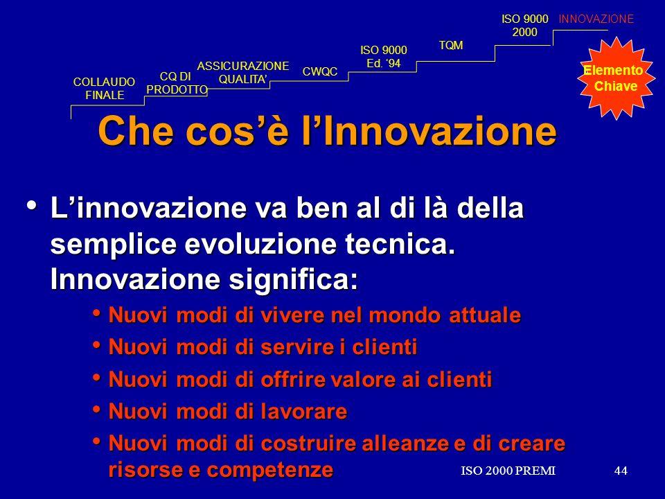 ISO 2000 PREMI44ISO 2000 PREMI44 Che cosè lInnovazione Linnovazione va ben al di là della semplice evoluzione tecnica. Innovazione significa: Linnovaz