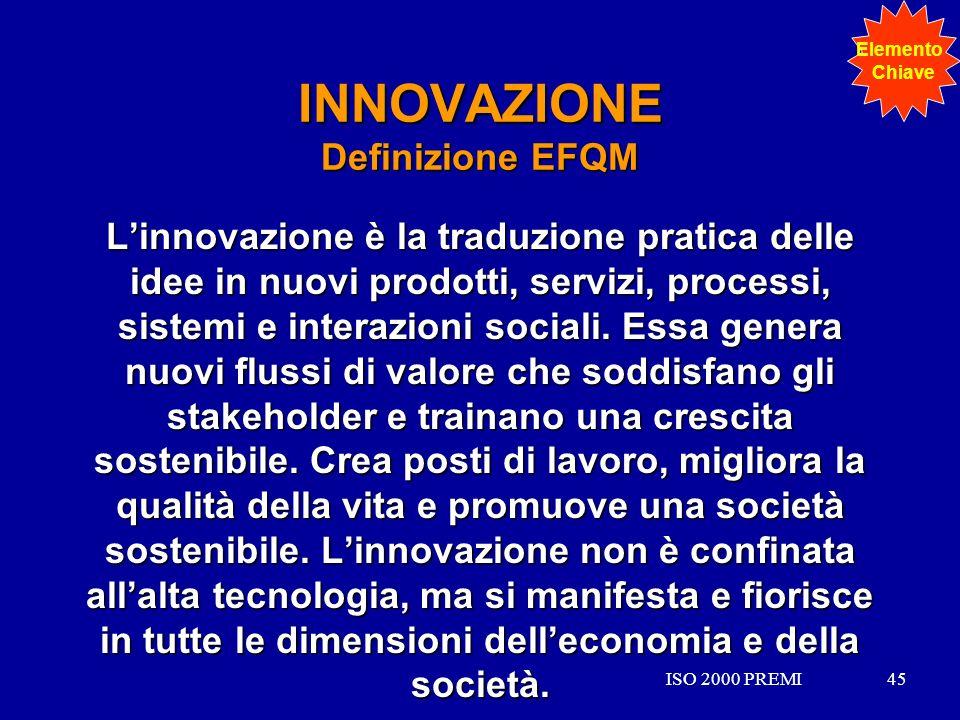 ISO 2000 PREMI45ISO 2000 PREMI45 INNOVAZIONE Definizione EFQM Linnovazione è la traduzione pratica delle idee in nuovi prodotti, servizi, processi, si