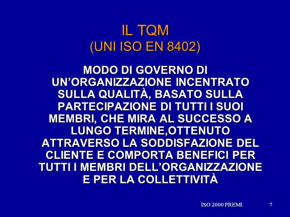ISO 2000 PREMI7 7 IL TQM (UNI ISO EN 8402) MODO DI GOVERNO DI UNORGANIZZAZIONE INCENTRATO SULLA QUALITÀ, BASATO SULLA PARTECIPAZIONE DI TUTTI I SUOI M