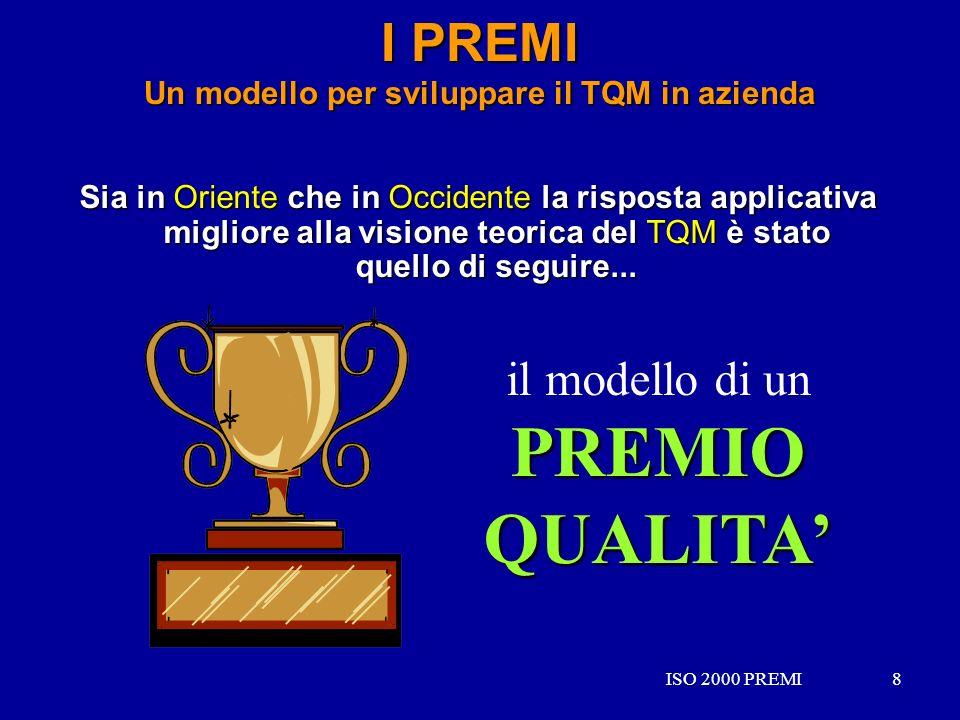 ISO 2000 PREMI8 8 I PREMI Un modello per sviluppare il TQM in azienda Sia in Oriente che in Occidente la risposta applicativa migliore alla visione te