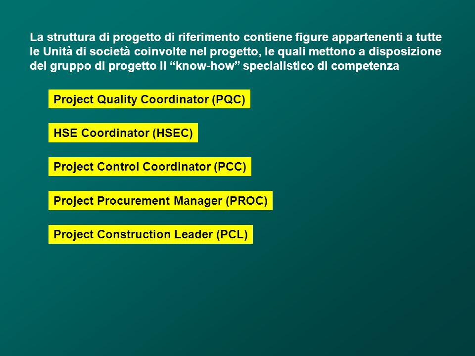 La struttura di progetto di riferimento contiene figure appartenenti a tutte le Unità di società coinvolte nel progetto, le quali mettono a disposizio