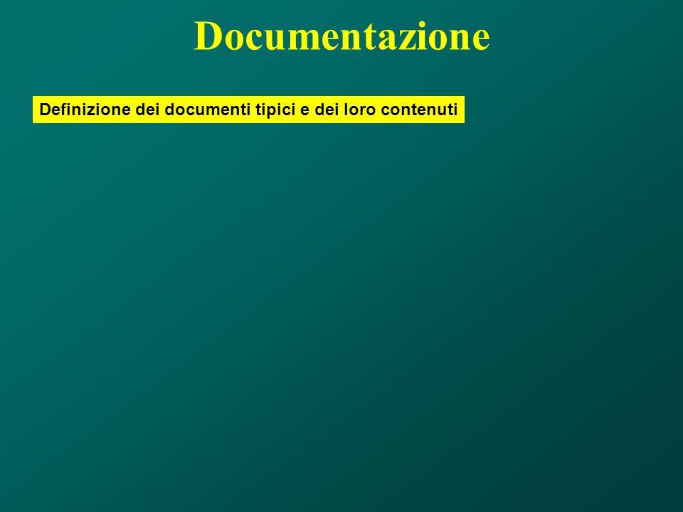 Documentazione Definizione dei documenti tipici e dei loro contenuti