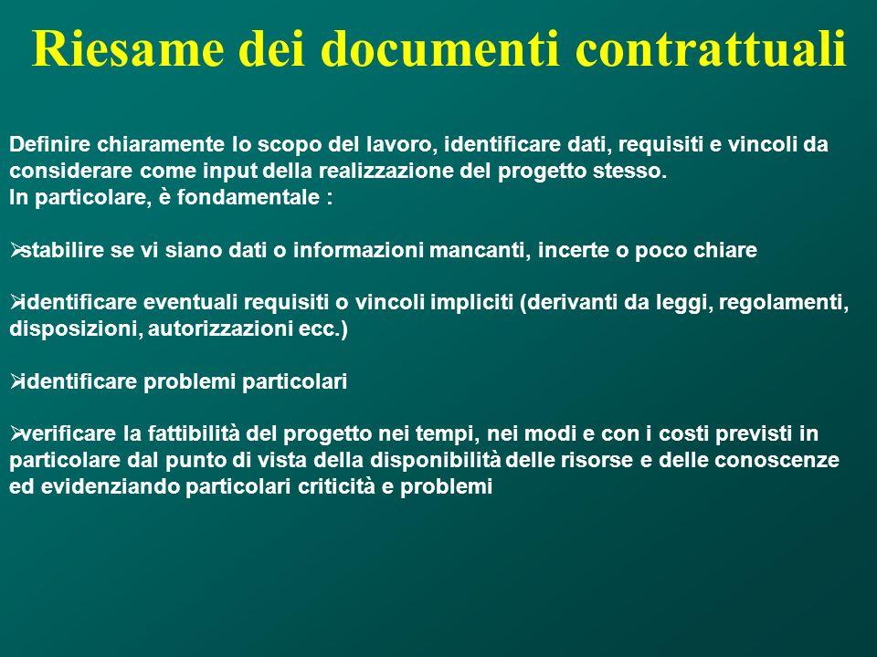 Riesame dei documenti contrattuali Definire chiaramente lo scopo del lavoro, identificare dati, requisiti e vincoli da considerare come input della re