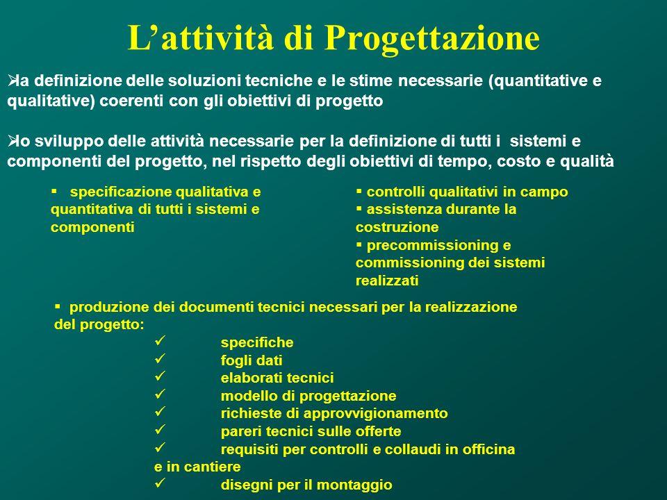 Lattività di Progettazione la definizione delle soluzioni tecniche e le stime necessarie (quantitative e qualitative) coerenti con gli obiettivi di pr
