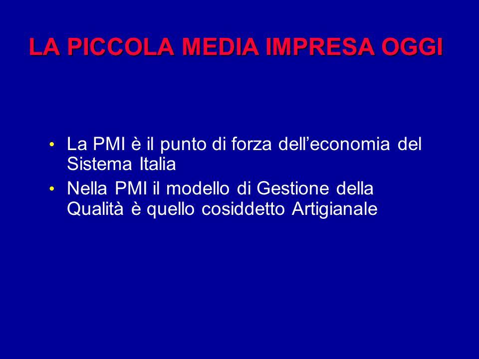 LA PICCOLA MEDIA IMPRESA OGGI La PMI è il punto di forza delleconomia del Sistema Italia Nella PMI il modello di Gestione della Qualità è quello cosiddetto Artigianale