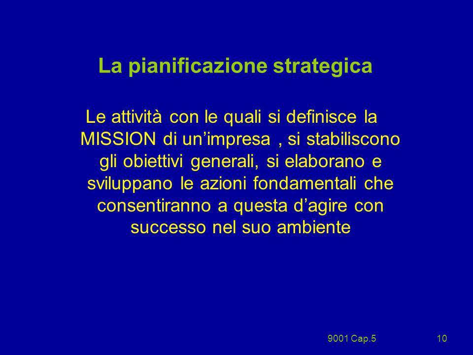 9001 Cap.510 La pianificazione strategica Le attività con le quali si definisce la MISSION di unimpresa, si stabiliscono gli obiettivi generali, si el
