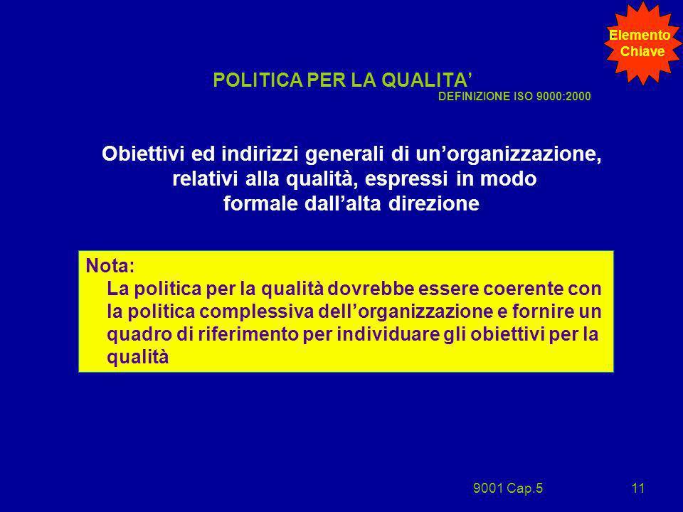 9001 Cap.511 POLITICA PER LA QUALITA Obiettivi ed indirizzi generali di unorganizzazione, relativi alla qualità, espressi in modo formale dallalta dir