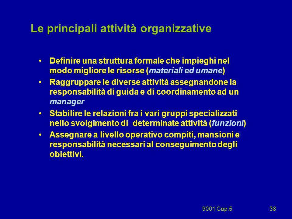 9001 Cap.538 Definire una struttura formale che impieghi nel modo migliore le risorse (materiali ed umane) Raggruppare le diverse attività assegnandon
