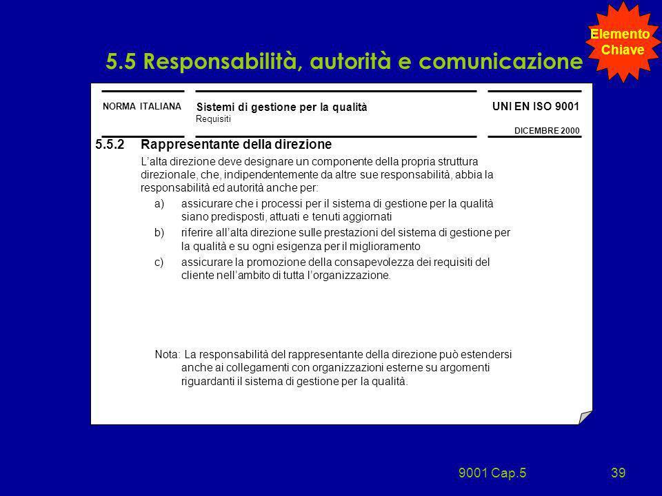 9001 Cap.539 NORMA ITALIANA Sistemi di gestione per la qualità Requisiti UNI EN ISO 9001 DICEMBRE 2000 5.5.2 Rappresentante della direzione Lalta dire
