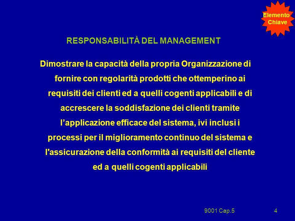 9001 Cap.54 RESPONSABILITÀ DEL MANAGEMENT Dimostrare la capacità della propria Organizzazione di fornire con regolarità prodotti che ottemperino ai re