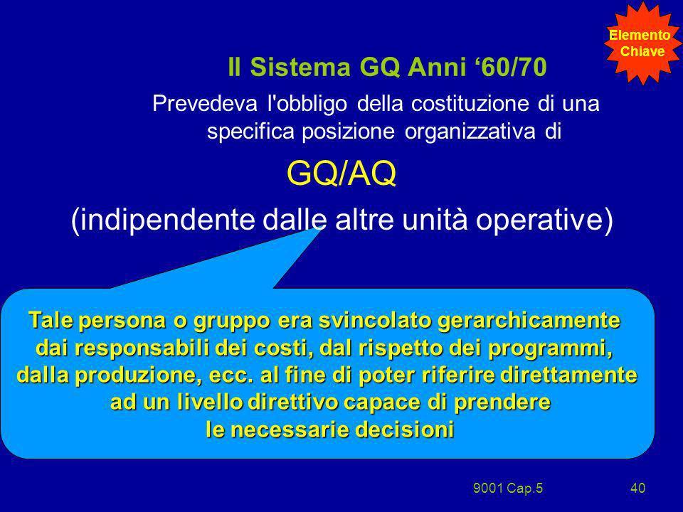 9001 Cap.540 Tale persona o gruppo era svincolato gerarchicamente dai responsabili dei costi, dal rispetto dei programmi, dalla produzione, ecc. al fi