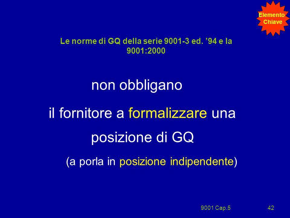 9001 Cap.542 Le norme di GQ della serie 9001-3 ed. 94 e la 9001:2000 non obbligano il fornitore a formalizzare una posizione di GQ (a porla in posizio