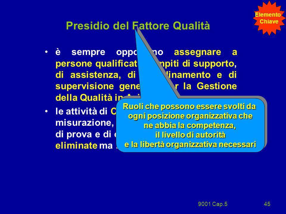 9001 Cap.545 Presidio del Fattore Qualità è sempre opportuno assegnare a persone qualificate compiti di supporto, di assistenza, di coordinamento e di