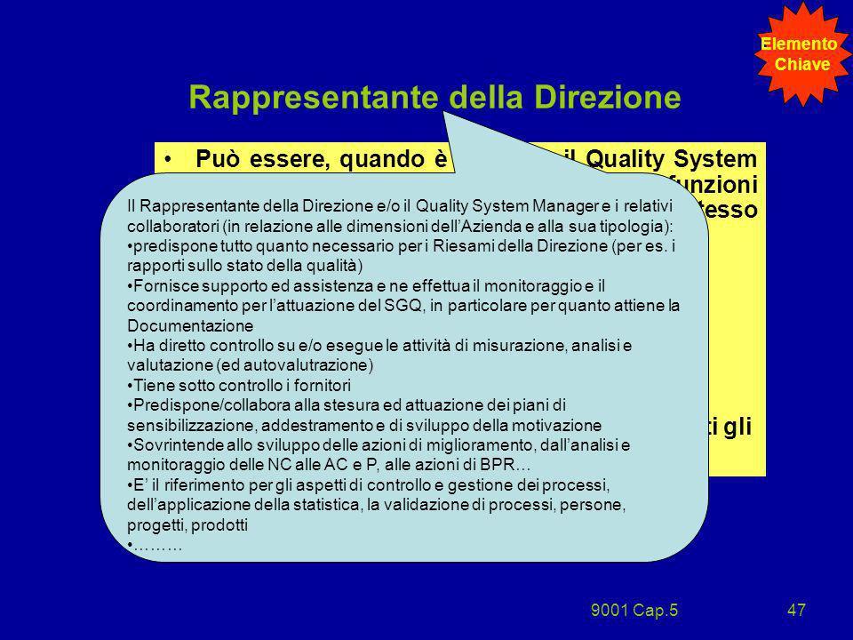 9001 Cap.547 Rappresentante della Direzione Può essere, quando è previsto, il Quality System Manager o il Responsabile di altre funzioni aziendali o,