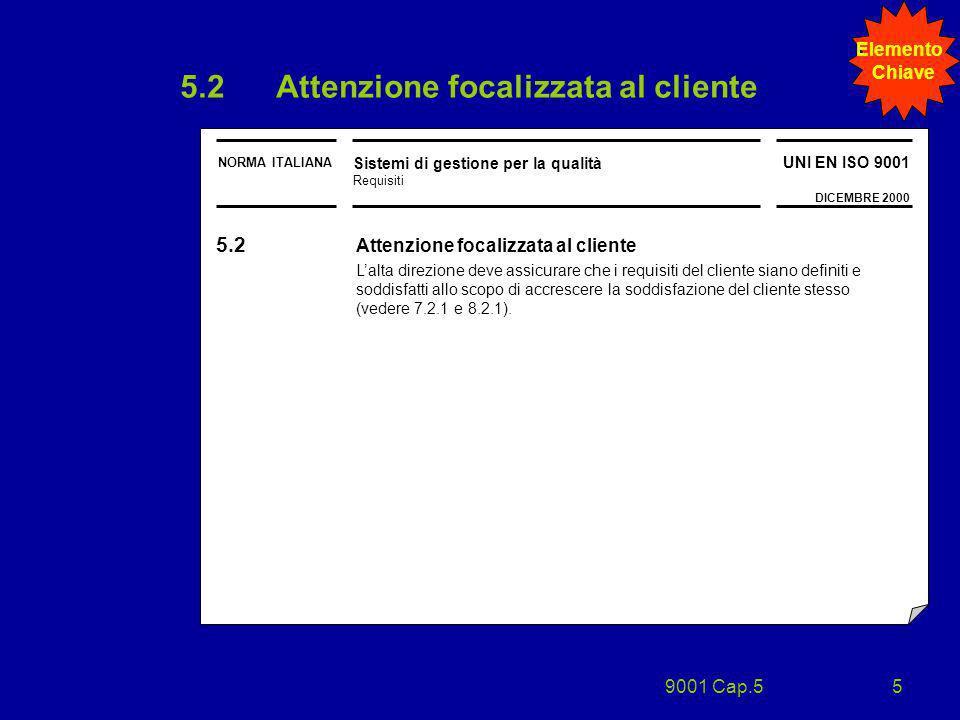 9001 Cap.55 5.2Attenzione focalizzata al cliente NORMA ITALIANA Sistemi di gestione per la qualità Requisiti UNI EN ISO 9001 DICEMBRE 2000 5.2 Attenzi