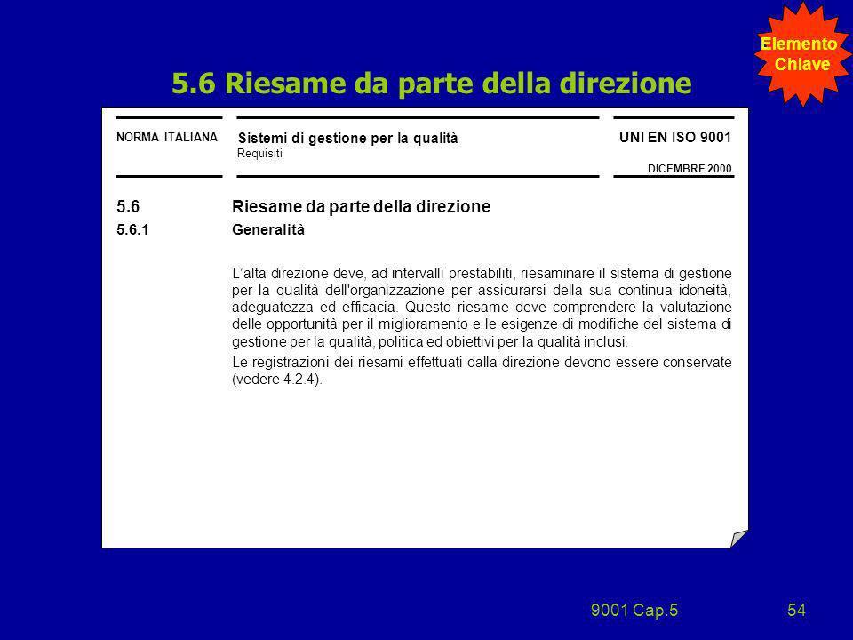 9001 Cap.554 NORMA ITALIANA Sistemi di gestione per la qualità Requisiti UNI EN ISO 9001 DICEMBRE 2000 5.6 Riesame da parte della direzione 5.6.1 Gene