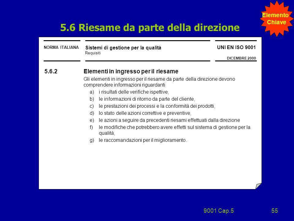 9001 Cap.555 NORMA ITALIANA Sistemi di gestione per la qualità Requisiti UNI EN ISO 9001 DICEMBRE 2000 5.6.2 Elementi in ingresso per il riesame Gli e