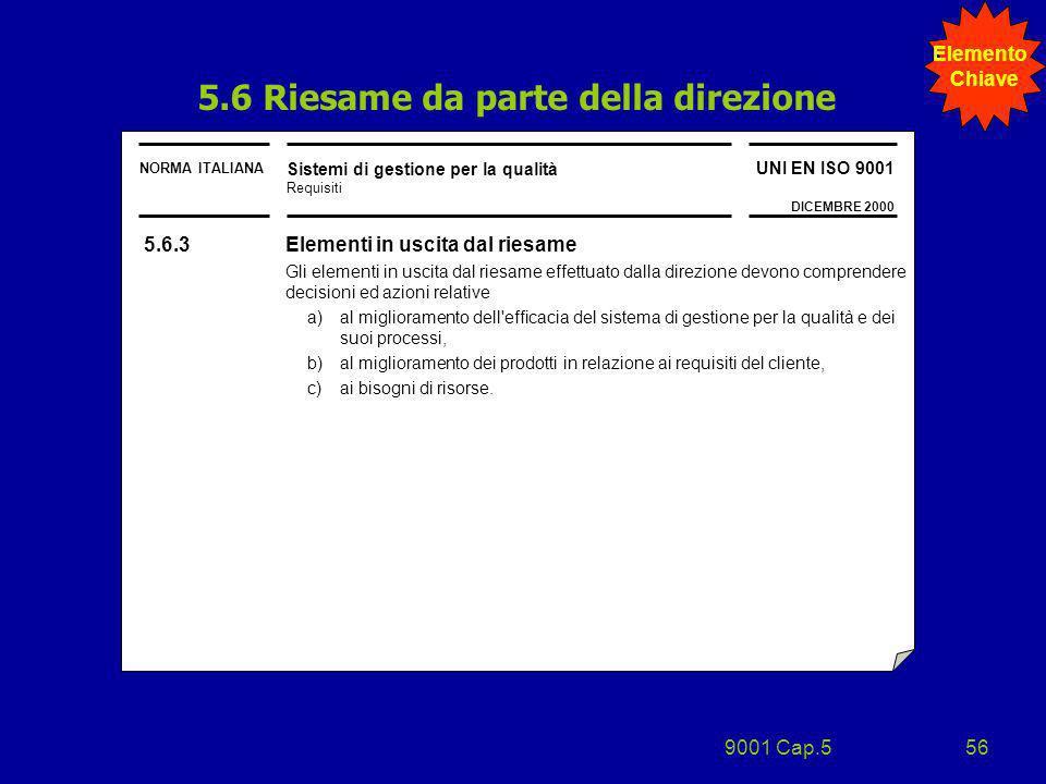 9001 Cap.556 NORMA ITALIANA Sistemi di gestione per la qualità Requisiti UNI EN ISO 9001 DICEMBRE 2000 5.6.3 Elementi in uscita dal riesame Gli elemen