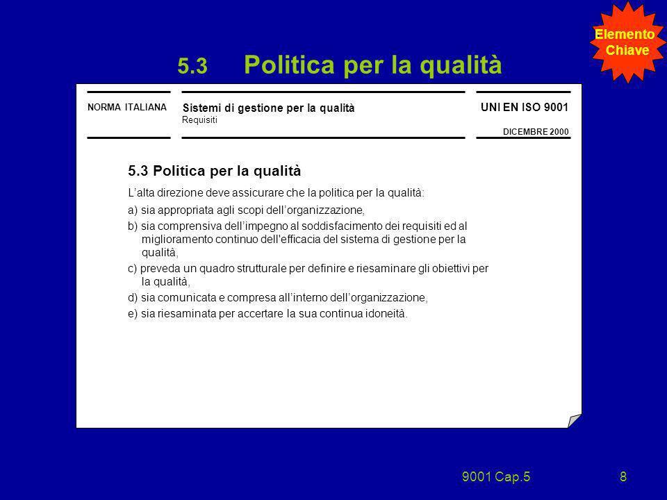 9001 Cap.58 NORMA ITALIANA Sistemi di gestione per la qualità Requisiti UNI EN ISO 9001 DICEMBRE 2000 5.3 Politica per la qualità Lalta direzione deve