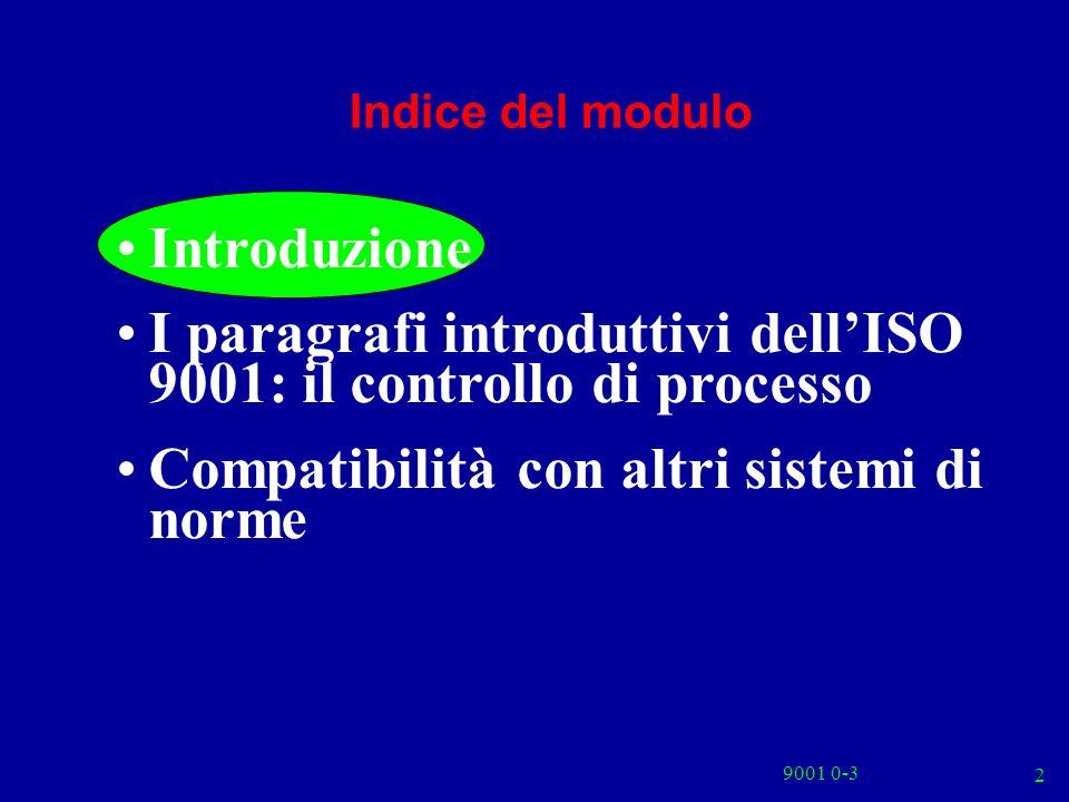 9001 0-3 2 Indice del modulo Introduzione I paragrafi introduttivi dellISO 9001: il controllo di processo Compatibilità con altri sistemi di norme