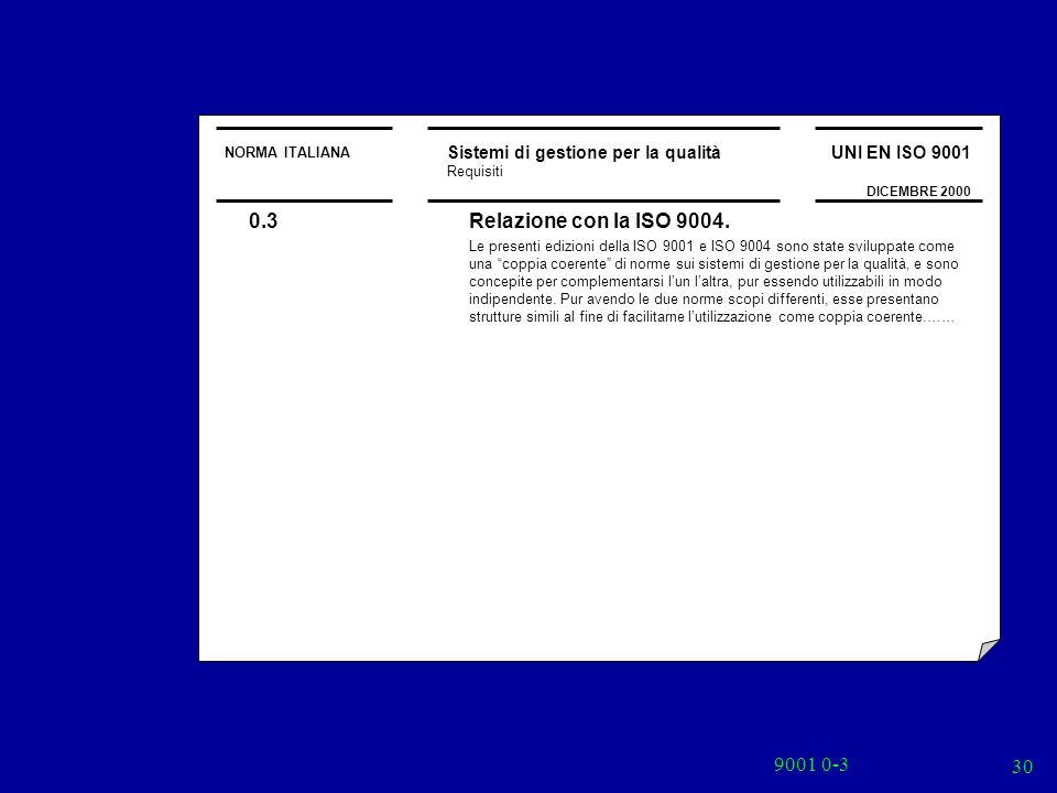 9001 0-3 30 NORMA ITALIANA Sistemi di gestione per la qualità Requisiti UNI EN ISO 9001 DICEMBRE 2000 0.3Relazione con la ISO 9004. Le presenti edizio