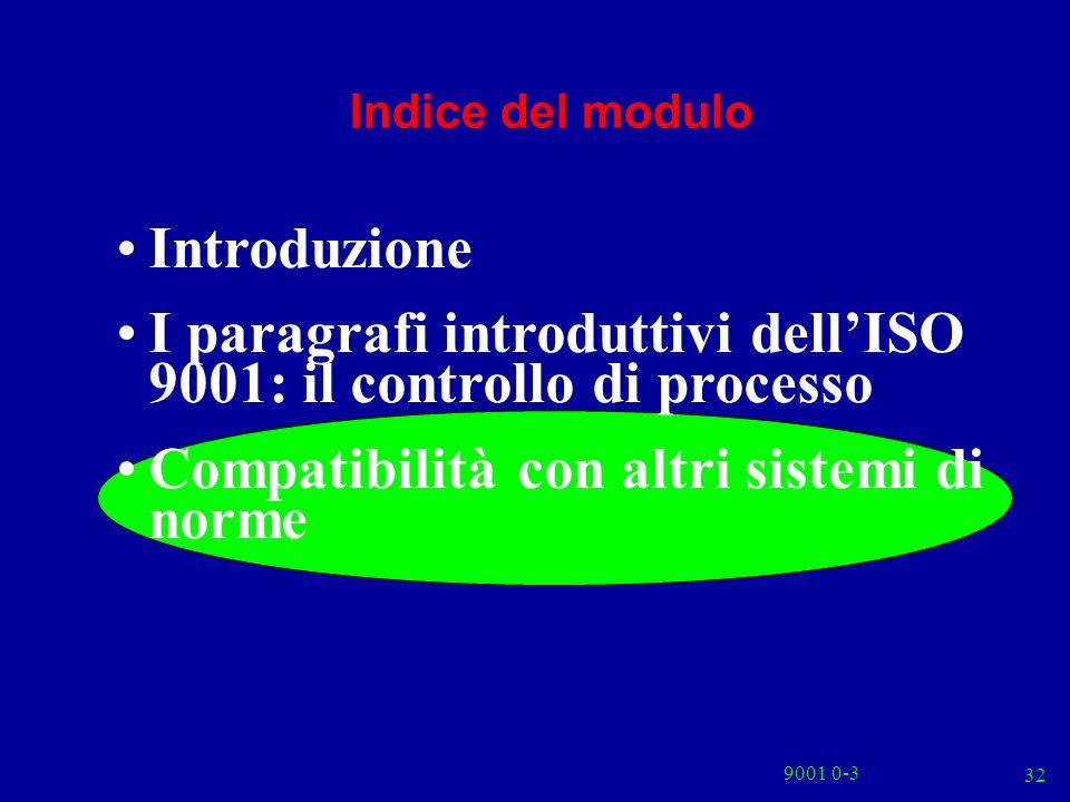 9001 0-3 32 Indice del modulo Introduzione I paragrafi introduttivi dellISO 9001: il controllo di processo Compatibilità con altri sistemi di norme