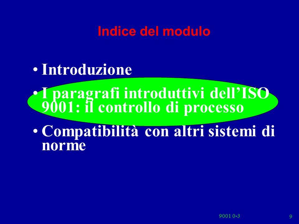 9 Indice del modulo Introduzione I paragrafi introduttivi dellISO 9001: il controllo di processo Compatibilità con altri sistemi di norme