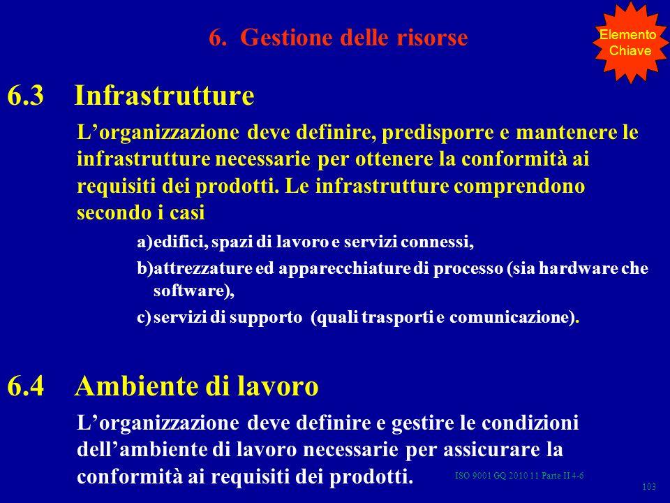 ISO 9001 GQ 2010 11 Parte II 4-6 103 6.3 Infrastrutture Lorganizzazione deve definire, predisporre e mantenere le infrastrutture necessarie per ottenere la conformità ai requisiti dei prodotti.