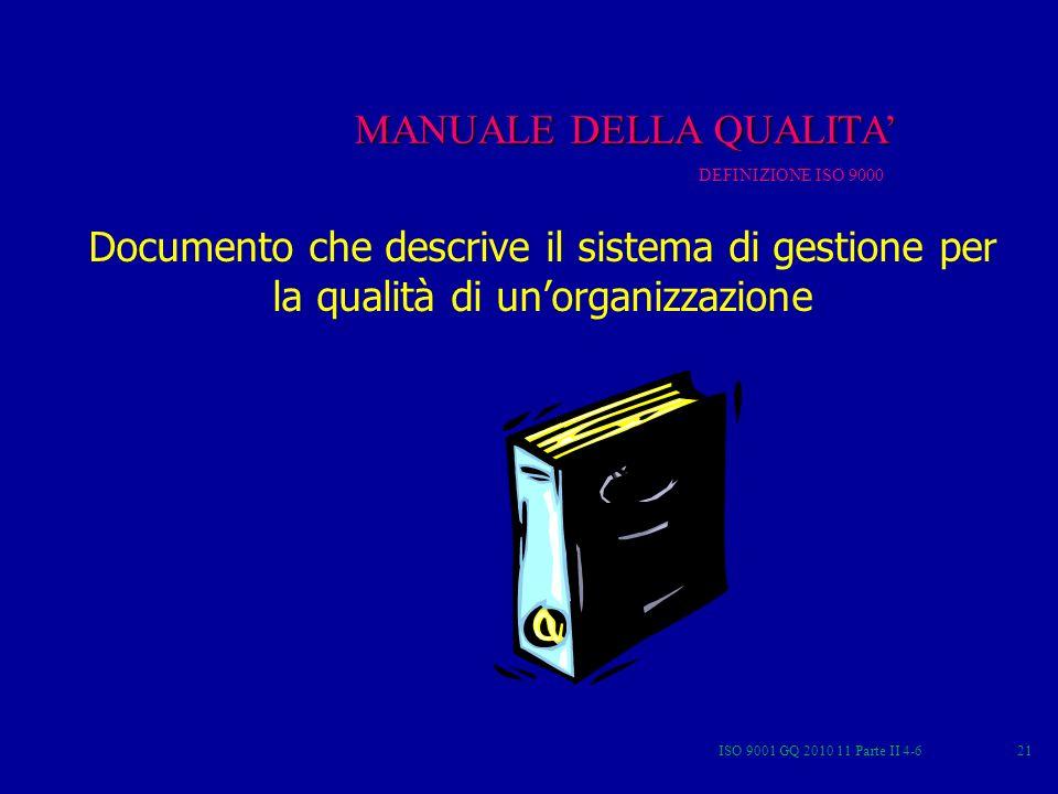ISO 9001 GQ 2010 11 Parte II 4-621 MQ MANUALE DELLA QUALITA DEFINIZIONE ISO 9000 Documento che descrive il sistema di gestione per la qualità di unorganizzazione